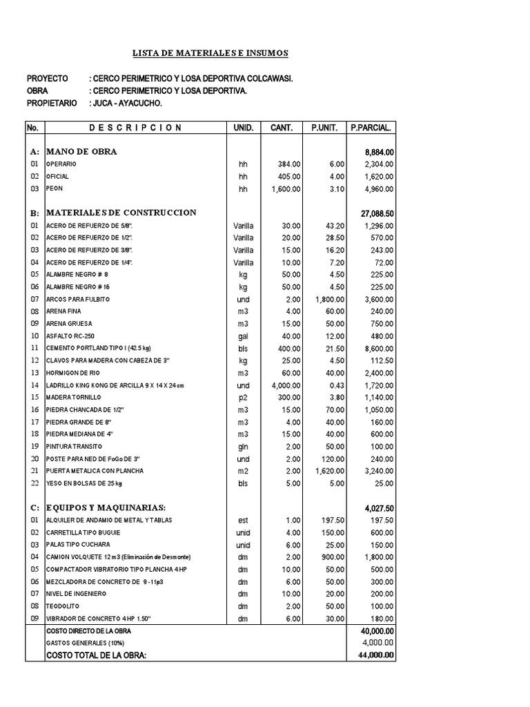 Presupuesto y lista de materiales de construcci n - Presupuesto construir casa ...