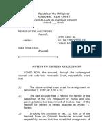 Motion to Suspend Arraignment Sample Form