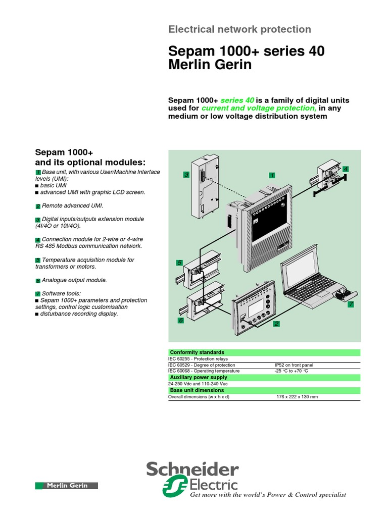Data Sheet Sepam 1000 Series 40 Electrical Substation 250vdc Wiring Diagram Manufactured Goods