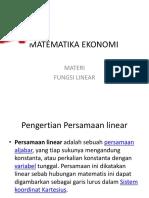 Matematika Ekonomi Fungsi Linear