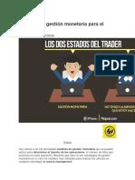 Modelos de Gestión Monetaria Para El Trading