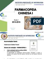 Aula 1 - Farmacopeia Chinesa - Coimbra