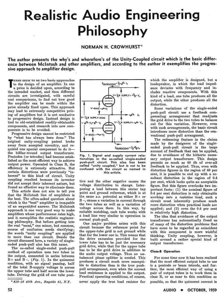Realistic Audio Engineering Philosophy (Unity-Coupled Circuit