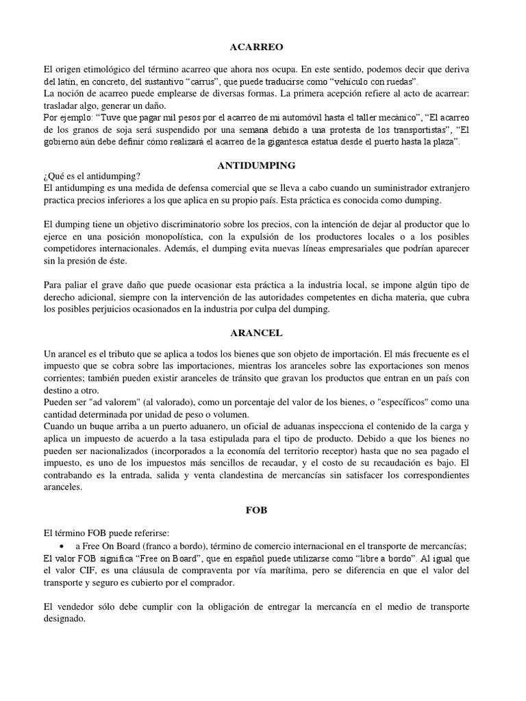 ACARREO | El comercio internacional | Comercio