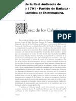 JEREZ DE LOS CABALLEROS en el Interrogatorio de la Real Audiencia de Extremadura de 1791