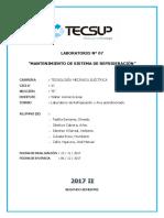 Laboratorio n 7 - MANTENIMIENTO DE UN SISTEMA DE REFRIGERACIÓN