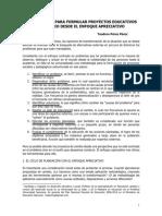Metodología Para Formular Proyectos Educativos de Cambio Desde El Enfoque Apreciativo