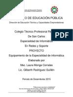 Equipamiento de La Especialidad de Informatica 2015