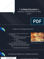 is college education a worthy investment in the u s