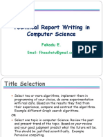 Technical Report Writing in CS 2016