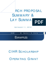 Research Summary and Lay Abstract 2012