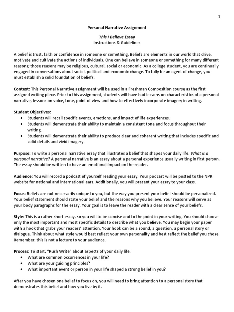 personal narrative - this i believe - assignment handout | Essays |  Narrative