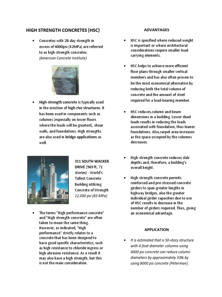 Concrete strength and other advantages