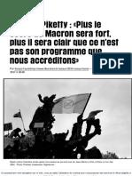 (1) Thomas Piketty_«Plus Le Score de Macron Sera Fort, Plus Il Sera Clair QueCe n'Est Pas Son Programme Que Nous Accréditons» - Libération