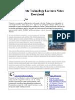 68624734 Civil Concrete Technology Lectures Notes Download