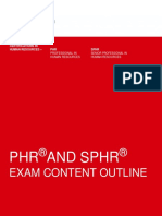 PHR SPHR Exam Content Outline by HRCI