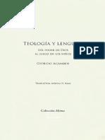 Agamben Giorgio - Teologia Y Lenguaje