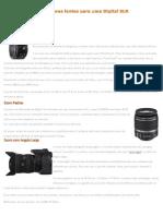 As Melhores Lentes Para Uma Digital SLR