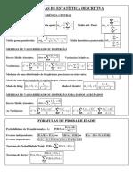Fórmulas de Estatística Descritiva e Probabilidade