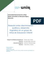 Relacion Entre Discriminacion Auditiva y Desarrollo Linguistico