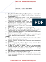 CBSE Class 12 Physics Frequently Asked Questions in Examinations
