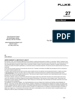 Fluke 27 Fm Manual | Diode | Electrical Resistance And