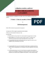 Cours de Droit Des Obligations Canadien - Québécois