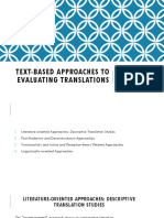 Text-based Approaches to Evaluating Translations