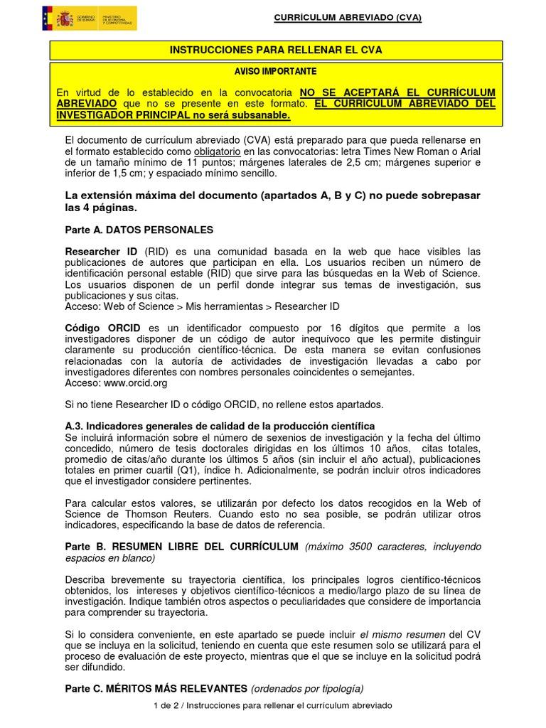 Instrucciones Para Rellenar Curriculum Abreviado CVA