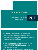 Grammar Notes-Complete Subjects and Predicates