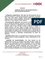 Glosario Lección 1 Equidad de Genero Diversidad Sexual y Discriminación Arbitraria