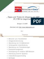 Tipps Und Tricks Im Umgang Mit SAP R3 PM for Beginners