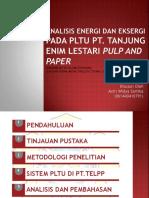 Analisis Energi Dan Eksergi Pt.telpp