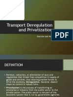 Transport Deregulation and Privatization
