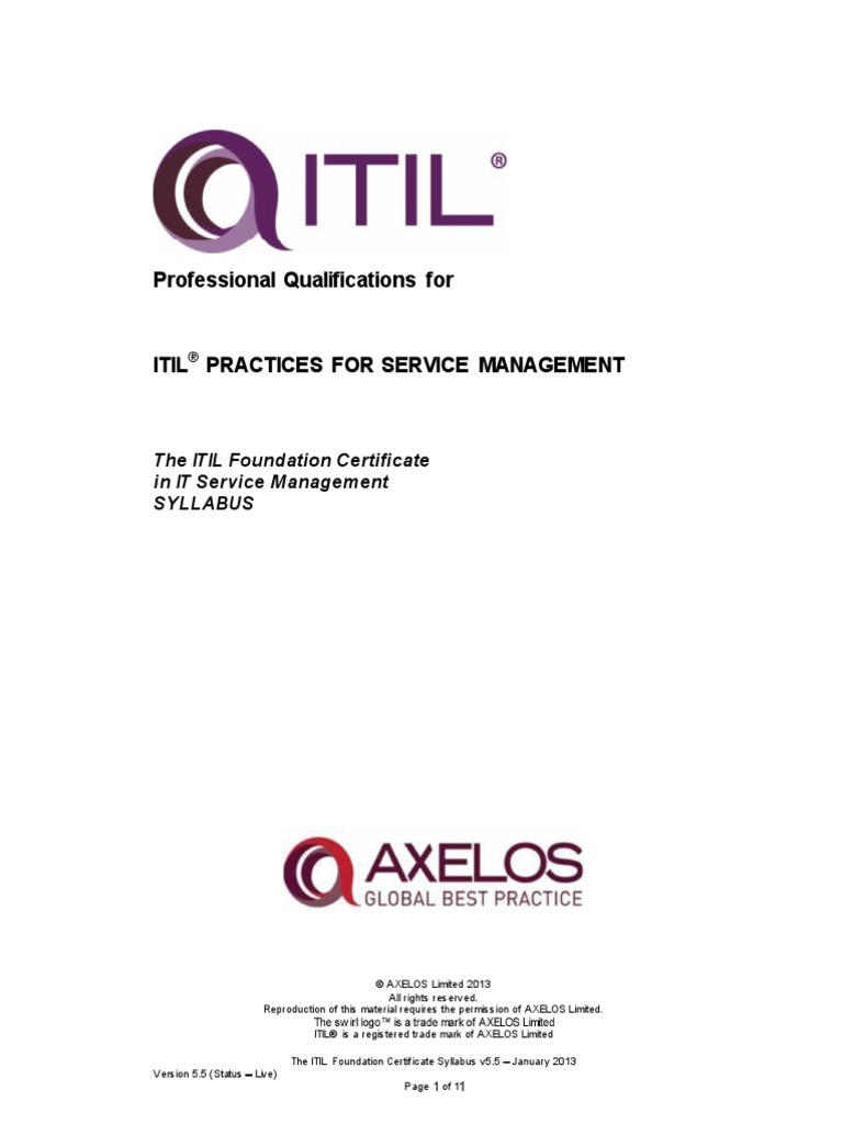 The Itil Certificate Syllabus Itil It Service Management