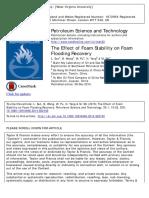 10. the Effect of Foam Stability on Foam Flooding Recovery