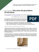 La Nullité Des Actes de Procédure d'Exécution - Cours de Droit