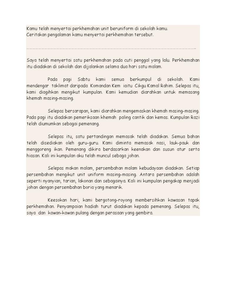 Contoh Karangan Laporan Aktiviti Perkhemahan Pt3