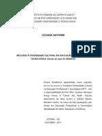 Inclusão e Diversidade Cultural Na Educação Profissional e Tecnológica Estudo de Caso Do Senai/ES