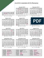 Calendar Romania Decembrie 2018–Noiembrie 2019