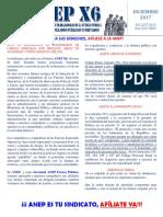 Boletín de la Seccional ANEP-Fuerza Pública del mes de diciembre