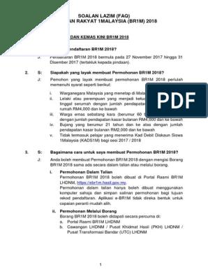 Faq Br1m 2018 Permohonan Baru Dan Kemas Kini Pdf