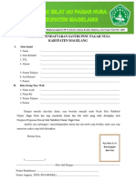 Formulir Pendaftaran Santri Psnu Pagar Nusa Kabupaten Magelang