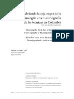 Abriendo La Caja Negra de La Tecnologia, Una Historiografía de Las Técnicas en Colombia
