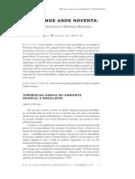 Brasil Nos Anos Noventa, Opções Estratégicas e Dinâmica Regional