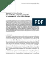 Músicas Em Movimento Dos Contextos, Tempos e Geografias Da Performance Musical Em Portugal
