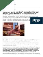 Romanul Biblia Pierduta Bestsellerul Lui Igor Bergler Peste 82.000 de Exemplare Vandute