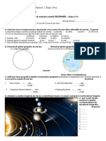 Geografie - Clasa a v -A - Test de Evaluare