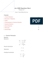 Physics GRE Equation Sheet