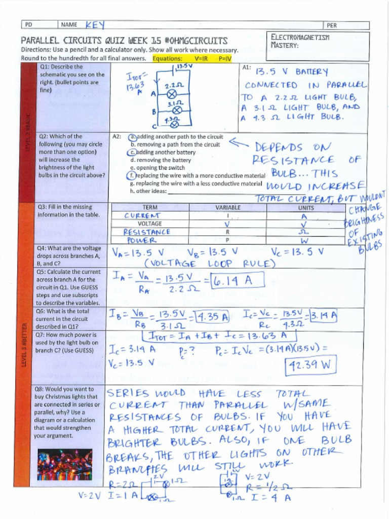 Key Parallel Circuits Quiz Answer Circuit 1 Has Switches In Series 2